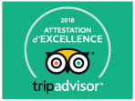 Attestation d'excellence 2018 fournit par tripadvisor