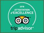 Attestation d'excellence 2018 fournit par tripadvisor