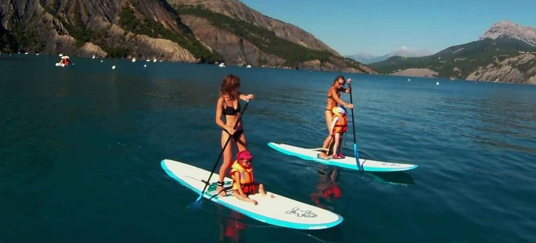stand up paddle au lac de serre poncon en ubaye et barcelonntte avec evp