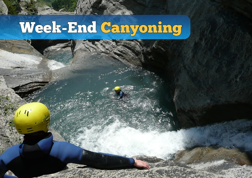 photo d'une session de canyoning lors d'un week end canyoning dans la vallée de l'ubaye