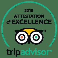 Attestation d'excellence 2018 fournit par tripadvisor de couleur blanche