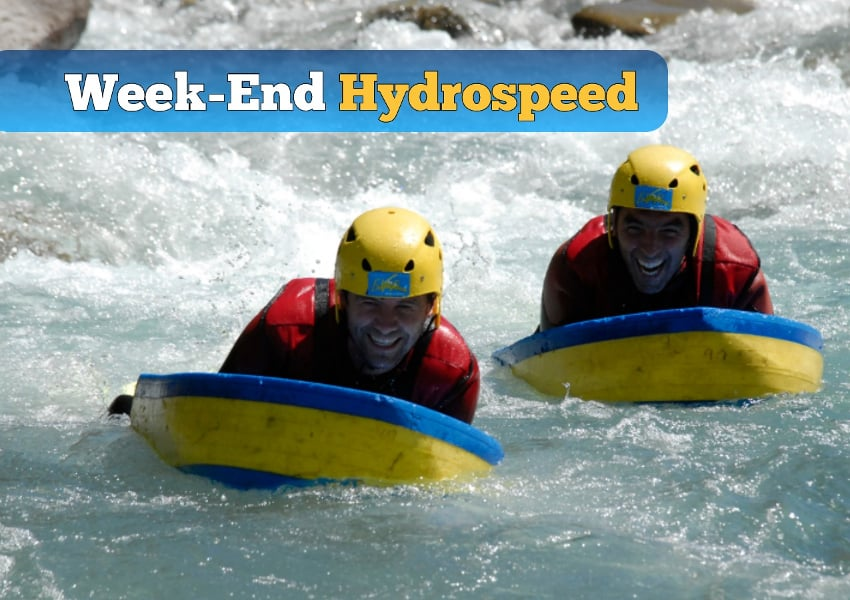 photo d'une descente en hydrospeed sur l'ubaye lors d'un week end hydrospeed dans la vallée de l'ubaye