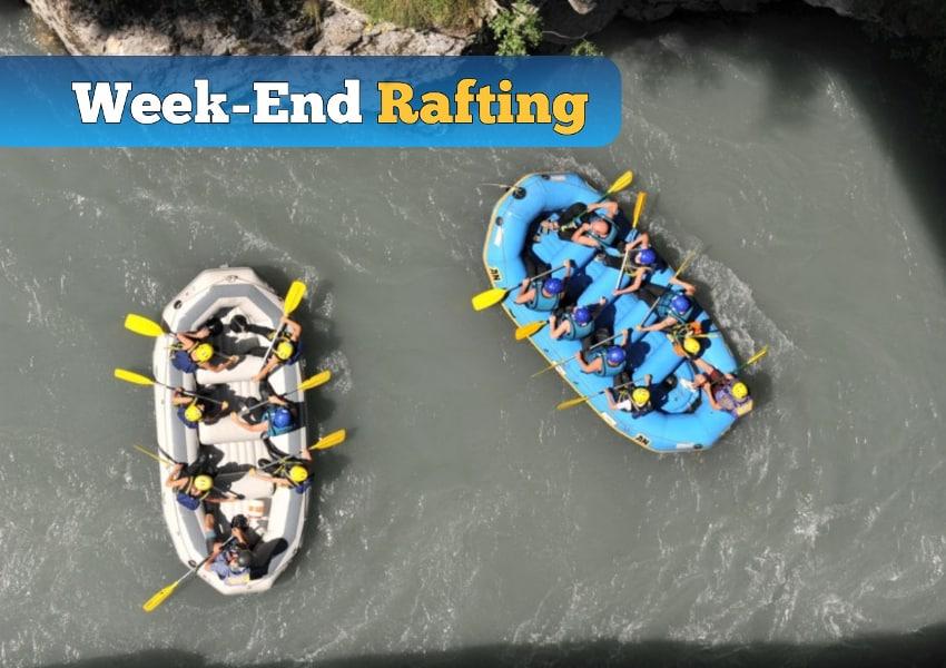 photo d'une descente en rafting sur l'ubaye lors du week end rafting dans la vallée de l'ubaye